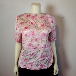 Vintage Silk Rose Pink Floral Top